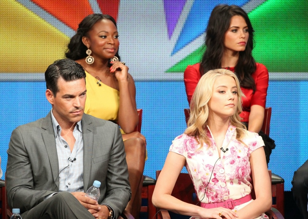 Actors Naturi Naughton, Jenna Dewan-Tatum (Bottom L-R) Eddie Cibrian and Amber Heard speak during 'The Playboy Club ' panel during the NBC Universal portion of the 2011 Summer TCA Tour held at the Beverly Hilton Hotel on August 1, 2011 in Beverly Hills, California.