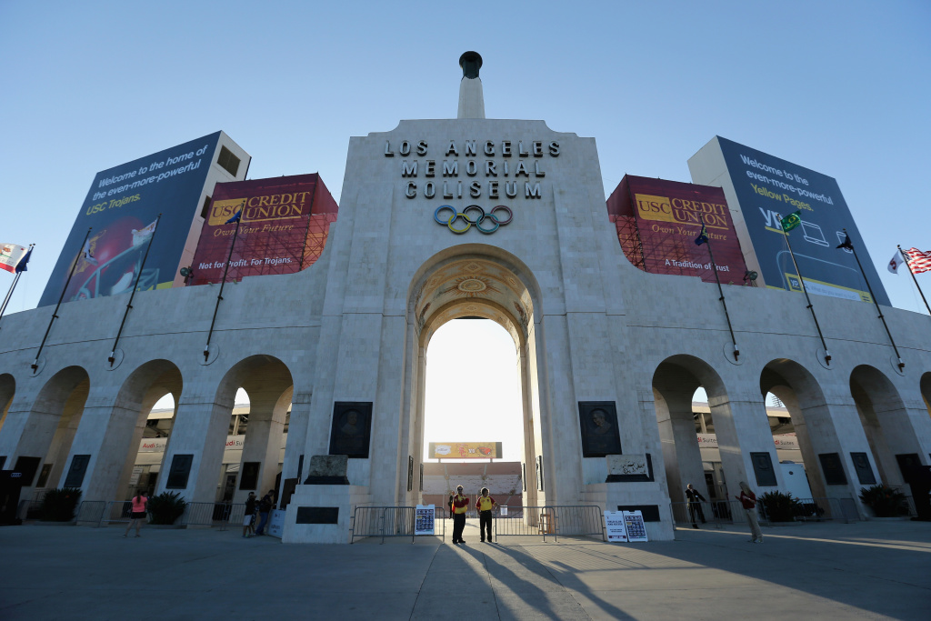 A general view of the exterior of Los Angeles Memorial Coliseum is seen prior to the start of the game between the Oregon State Beavers and the USC Trojans on September 27, 2014 in Los Angeles, California.