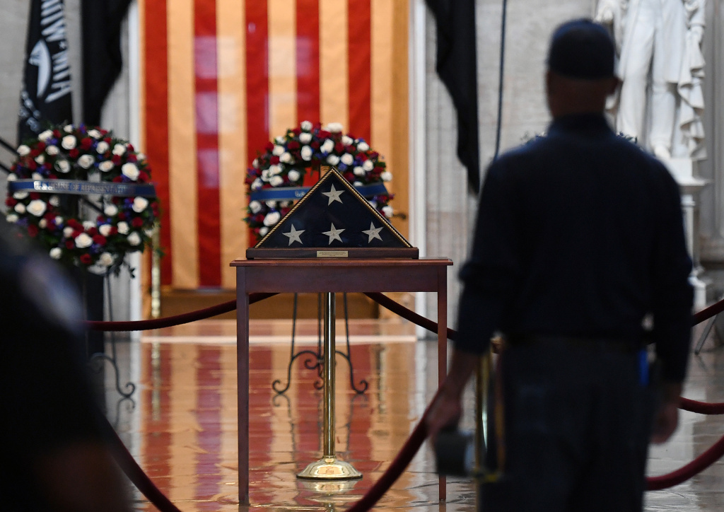A view inside the Rotunda which will hold Capitol Police officer Brian Sicknick's remains while he lays in honor after he died during the January 6, 2021 attack on the Capitol Building by a pro-Trump mob.