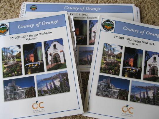 Copies of the Orange County 2011-2012 budget.