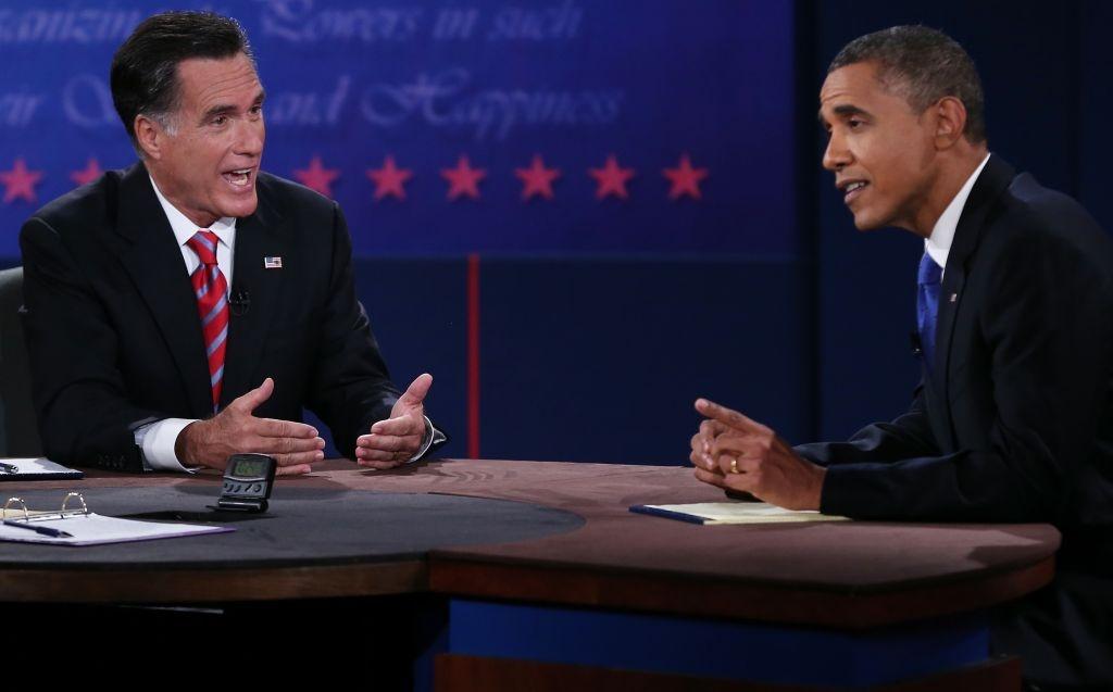 U.S. President Barack Obama (R) debates with GOP presidential candidate Mitt Romney at Lynn University in Boca Raton, Florida Monday night.