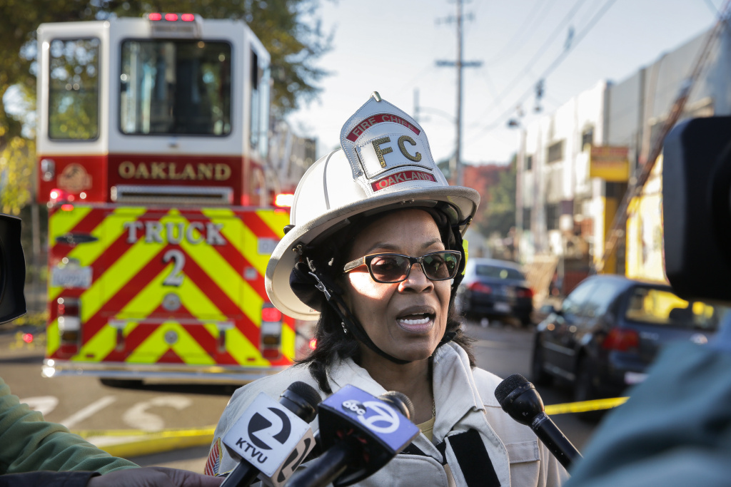 File: Oakland Fire Chief Teresa Deloach Reed speaks to the press following the warehouse fire on December 3, 2016 in Oakland, California.