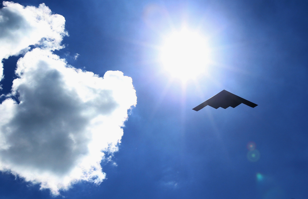 A B-2 Spirit stealth bomber makes a fly-over at Soldier Field on September 13, 2015 in Chicago, Illinois.