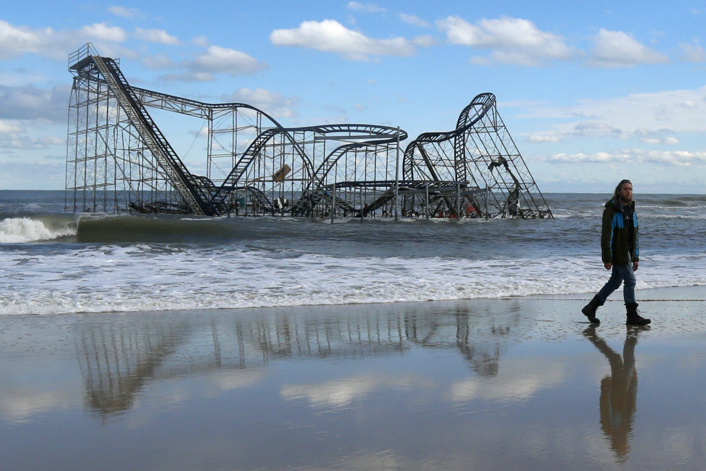 A rollercoaster that once sat on the Funtown Pier in Seaside Heights, N.J., rests in the ocean on Wednesday, Oct. 31, 2012. The pier was washed away by superstorm Sandy.