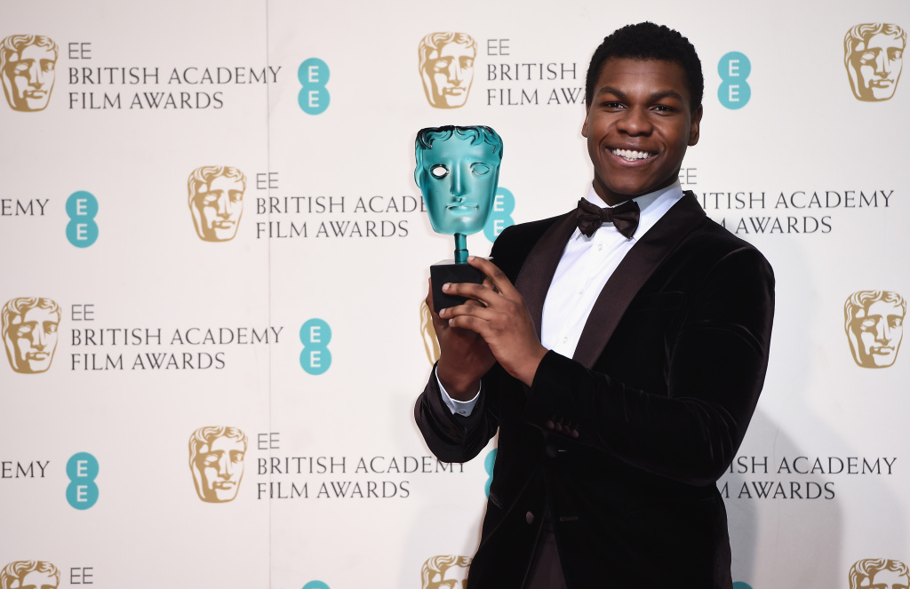 John Boyega poses with the EE Rising Star Award in the winners room at the EE British Academy Film Awards at the Royal Opera House on February 14, 2016 in London, England.
