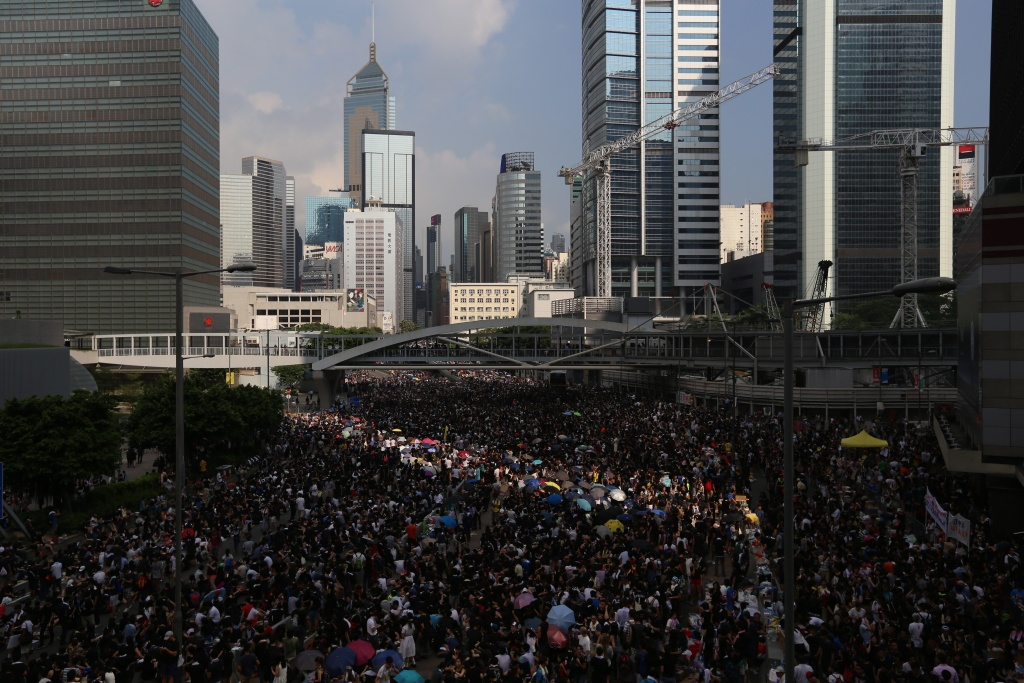 Pro-democracy protesters gather in the Admiralty region of Hong Kong on September 29, 2014. Hong Kong police said on September 29 tear gas was deployed '87 times' in clashes with pro-democracy protesters on September 28 as they defended their controversial use of force against crowds in the usually stable city.