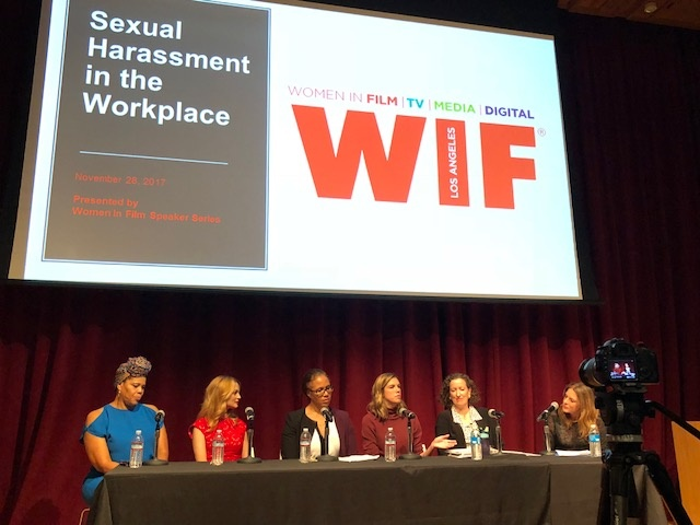 Women in Film panel on sexual harassment in the workplace with (L-R) casting director Tracy Twinkie Byrd, actress Heather Graham, author and attorney Kathleen Tarr, actress Rosette Laursen, attorney Cynthia Bamford, and producer and Women in Film president Cathy Schulman.