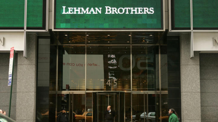 The headquarters of Lehman Brothers in Times Square five years ago. The financial services firm filed for bankruptcy in September 2008.