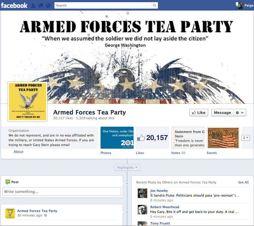The Facebook homepage for Armed Forces Tea Party.