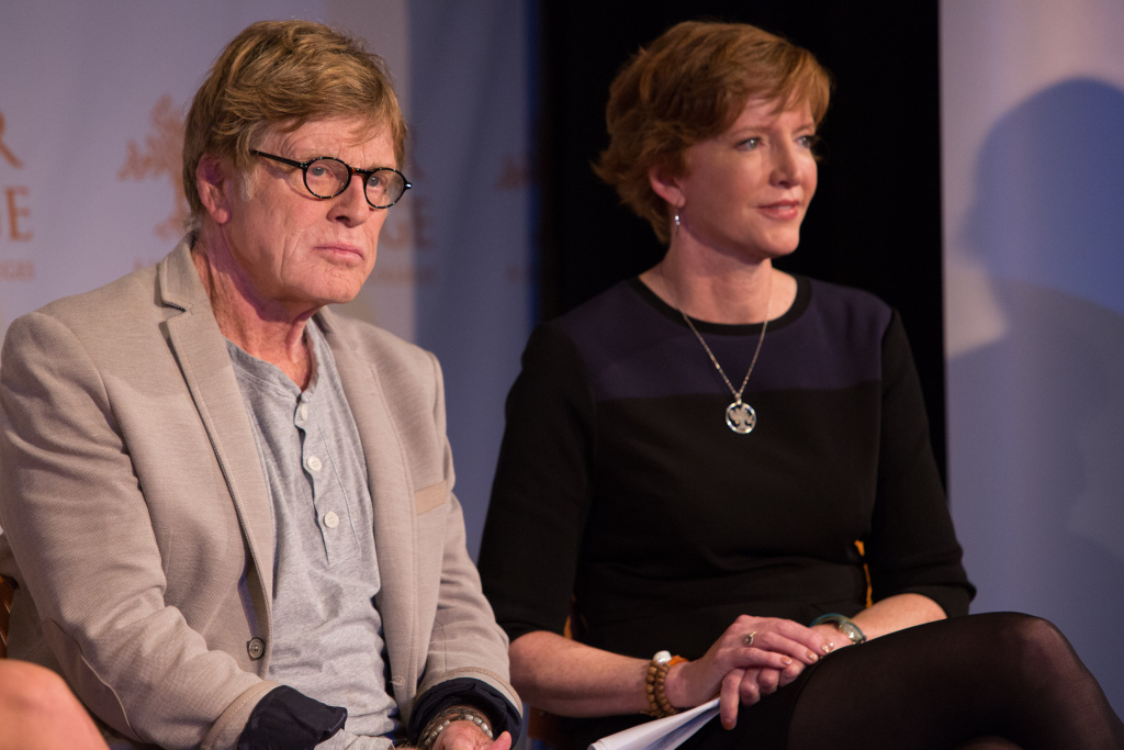 Robert Redford (L) and Laura Skandera Trombley (R) at an event for Pitzer College
