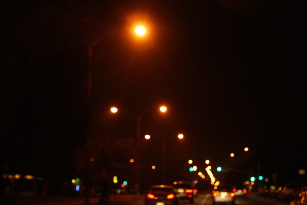 Street lights at night.
