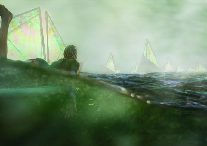 Regatta H2O: First place winner to the Land Art Generator Initiative 2016 competition for Santa Monica. The structure generates electricity from wind hitting a taut membrane that vibrates. It also produces roughly 30 million gallons of drinking water through fog harvesting.
