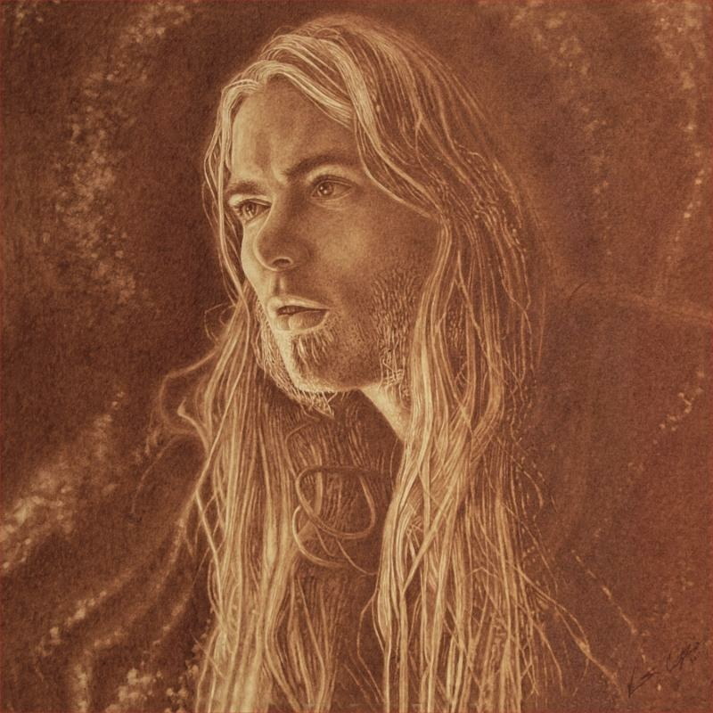 "Portrait of Gregg Allman by Vincent Castiglia, to be included in the album artwork for ""Southern Blood"""