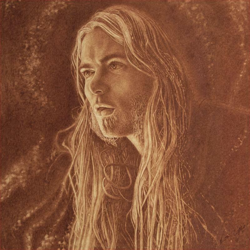 Portrait of Gregg Allman by Vincent Castiglia, to be included in the album artwork for