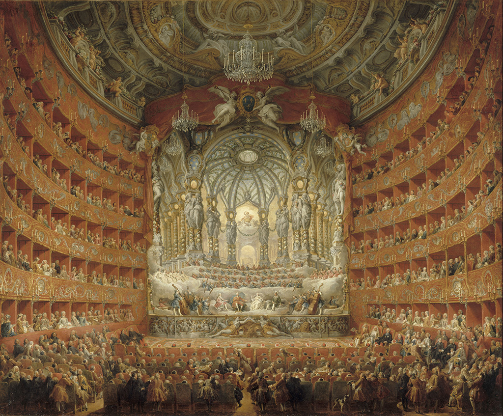 The Musical Performance in the Teatro Argentina in Honor of the Marriage of the Dauphin, 1747, Giovanni Paolo Panini, oil on canvas. Musée du Louvre, Département des Peintures.