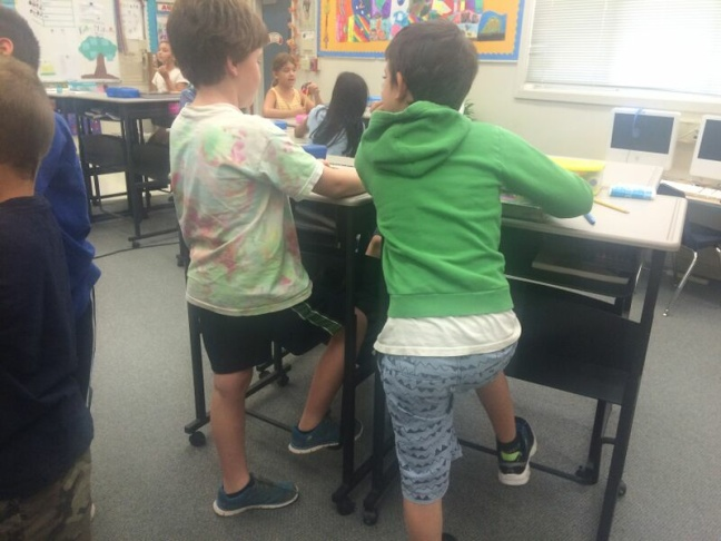 Students at Vallecito Elementary School in San Rafael use their new standing desks.