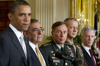 From left to right: President Barack Obama; Secretary of Defense Leon Panetta; General David Petraeus before being named CIA Director; General John Allen, commander for U.S. forces in Afghanistan; and Ryan Crocker as the U.S. ambassador to Afghanistan.