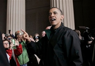 President Barack Obama speaks to visitors at the Lincoln Memorial on the National Mall in Washington Saturday, April 9, 2011.