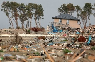 Debris is scattered, three months and two days after the magnitude 9.0 earthquake and subsequent tsunami on June 13, 2011 in Sendai, Miyagi, Japan.