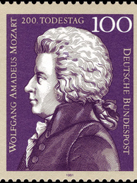 German stamp marking 200th anniversary of Mozart's death.
