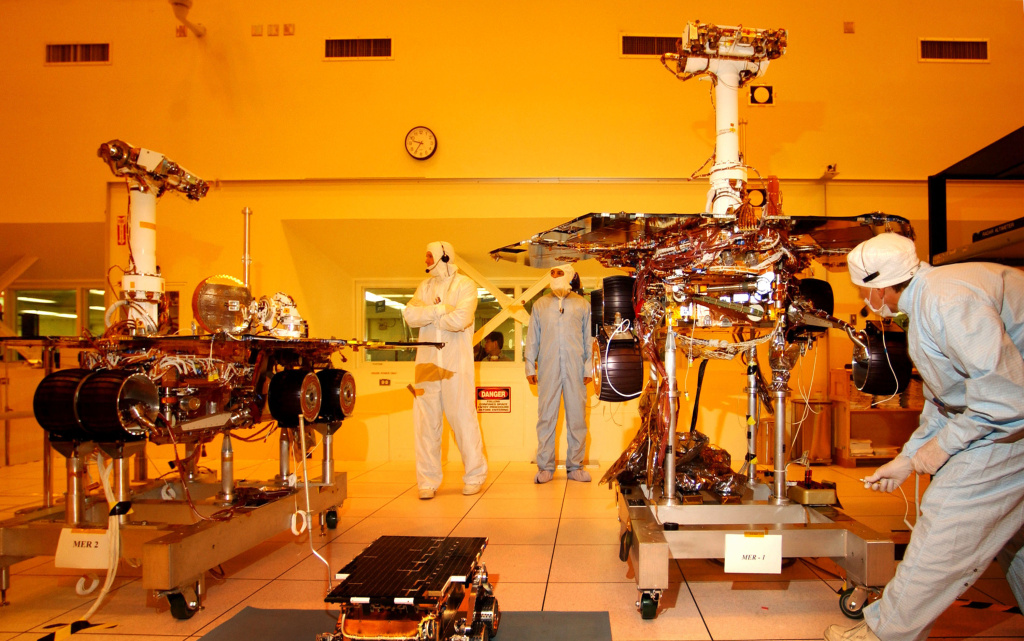 Workers put final touches to the two new Mars exploration rovers at the NASA Jet Propulsion Laboratory in 2003.