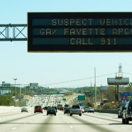 An 'Amber Alert' sign over I-85 North in metro-Atlanta alerts the public to keep an eye out for a 1994 blue Chevy pickup truck thought to have been stolen by murder suspect Brian Nichols. March 12, 2005 in Atlanta, Georgia.