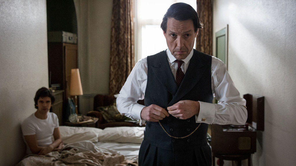 A Spot of Bother: Norman Scott (Ben Whishaw, L) and Jeremy Thorpe (Hugh Grant, R) face the day with stiff upper lips in Amazon's<em> A Very English Scandal</em>.