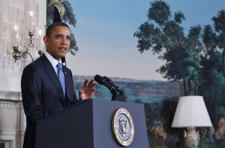 President Barack Obama speaks on the status of debt ceiling negotiations in the Diplomatic Reception Room of the White House in Washington, DC.