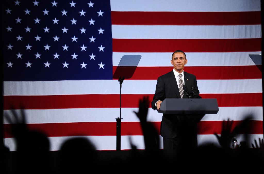 US President Barack Obama speaks during a campaign event at the Apollo Theatre in New York on January 19, 2012.