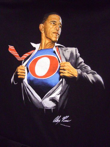 President Obama as super hero. Illustration by Alex Ross.