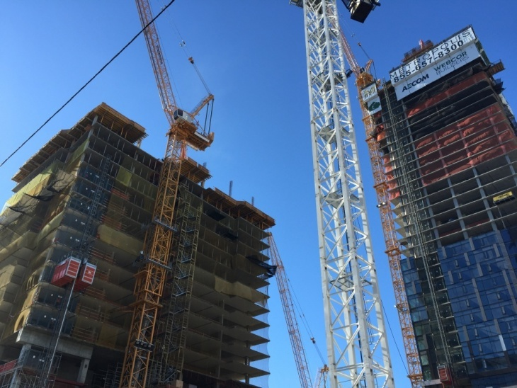 The $1 billion Metropolis project in downtown Los Angeles is funded by Greenland, a Chinese state-owned real estate behemoth. (Photo by Ben Bergman/KPCC )