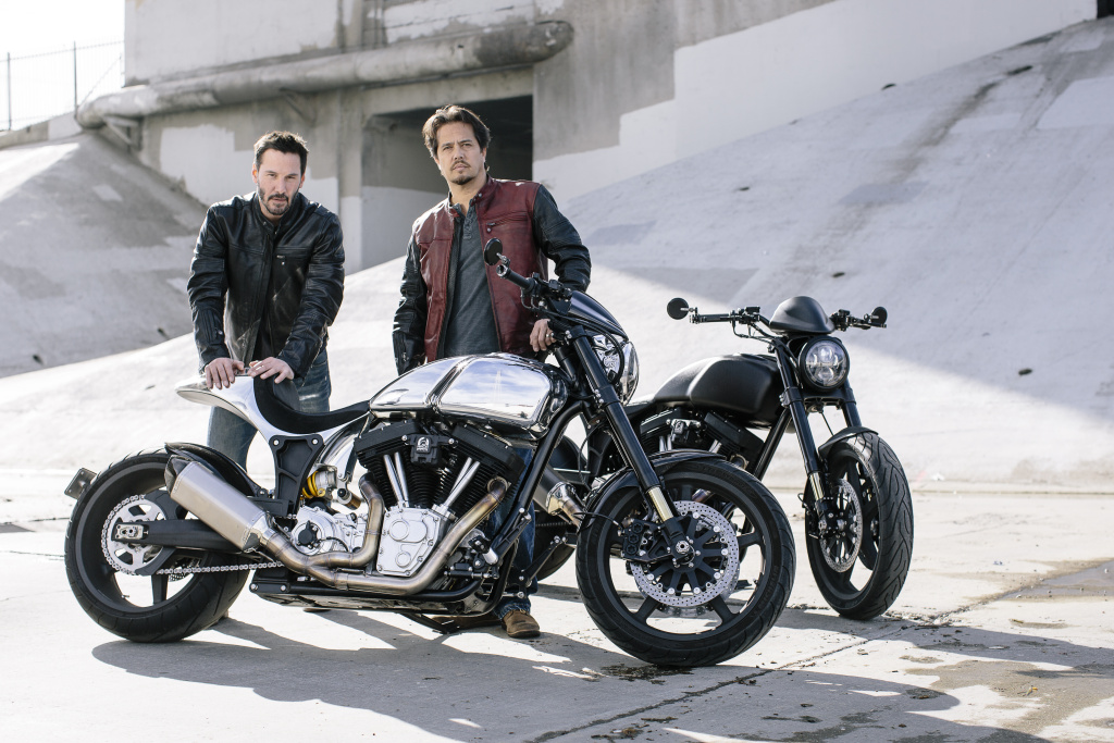 Actor Keanu Reeves and designer Gard Hollinger with two of their Arch Motorcycles.