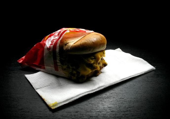 A hamburger made at Vaka Burger in Glassell Park