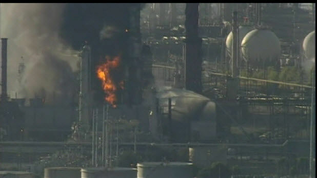 A fire at a Chevron refinery in Richmond in the Bay Area.