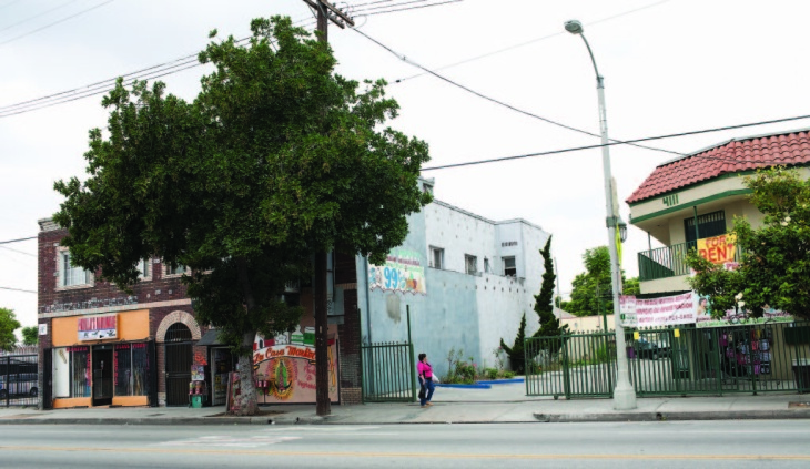 The former site of the Black Panter party headquarters, 4115 S. Central Ave, photographed in 2007.  The site is now a parking lot surrounded by small businesses and a Mexican market.