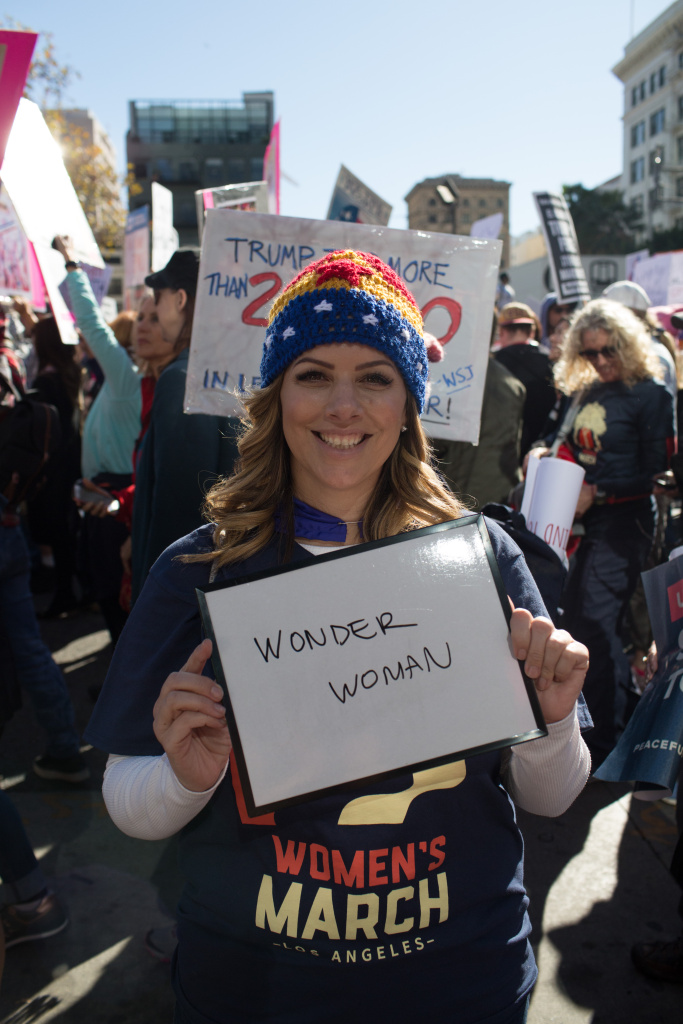 Samantha Thompson, 42, from Ojai. I chose Wonder Woman because she is both strong and powerful. January 20, 2018 at Downtown Los Angeles, California. (James Bernal for KPCC)