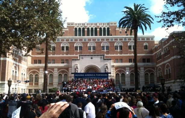 President Barack Obama is seen addressing the crowd at USC during a Democratic rally, Oct. 22, 2010.