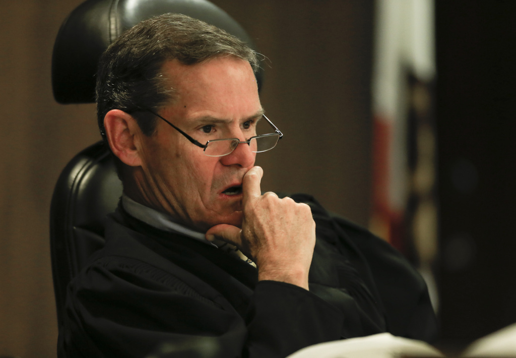 File: Judge Thomas Goethals listens to arguments during a motion hearing in the trial of Scott Dekraai, on March 18, 2014 in Santa Ana, California. Goethals listened to testimony from Sheriff Sandra Hutchens on July 5, 2017 in a hearing to determine whether prosecutors can pursue the death penalty against Dekraai.