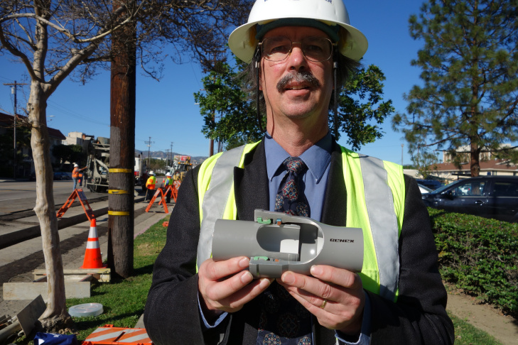 DWP engineer Craig Davis is an expert on earthquake-resistant pipe, and worked for more than a decade to get Los Angeles to test it in five locations. He shows a cutaway section of the pipe Feb. 11, 2015.