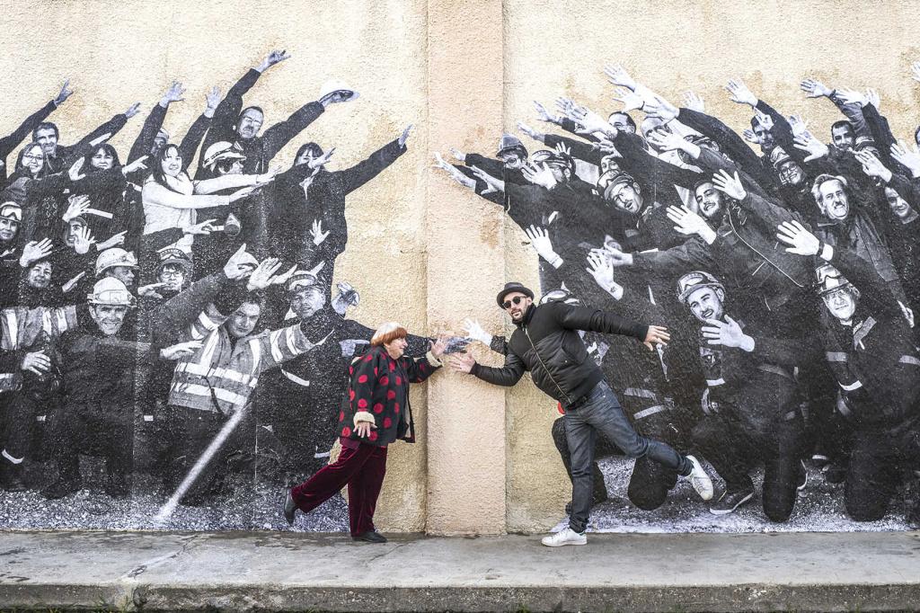 Filmmaker Agnes Varda and street artist JR in their documentary