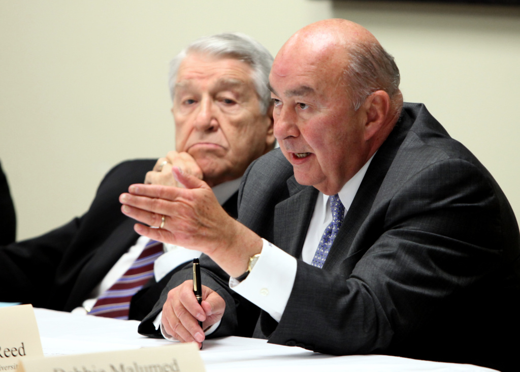 California State University Chancellor, Charles Reed, right, discusses the effects of past budget cuts. Reed announced his retirement last month, something unions have advocated.