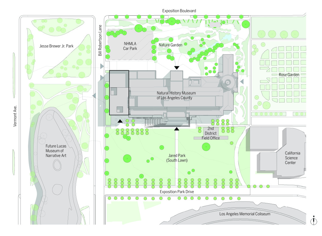 A site map of the Natural History Museum's plans for renovation to the south and west areas of its Exposition Park campus.