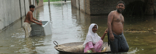 Pakistani flood survivors evacuate from a flooded area of Pathan Wala on August 16, 2010. Pakistan's devastating floods are now threatening ancient archeological sites, on top of leaving millions of people dependent on humanitarian aid to survive, an antiquities official said.