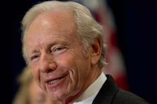 Senator Joe Lieberman talks to the media at a news conference Jan. 19, 2011 in Stamford, Connecticut. Lieberman, Al Gore's running mate in the 2000 White House race, announced Wednesday he will not seek reelection in 2012.
