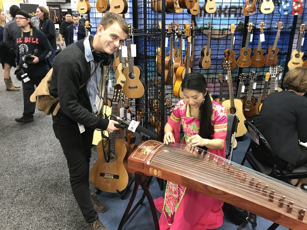 Audrey Zeng plays the guzheng at NAMM 2018.