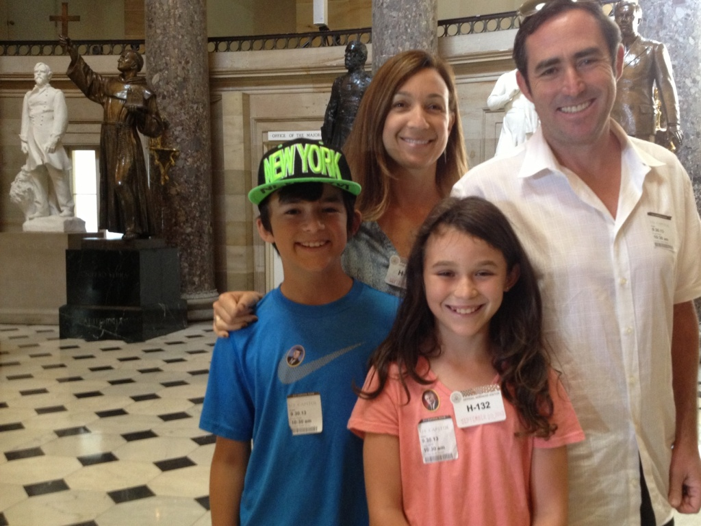Eris and Alex Cushner with their 10-year old twins, Joshua and Jordan, visiting the US Capitol on Monday, just hours before a shutdown would shut down most tourist sites in Washington.