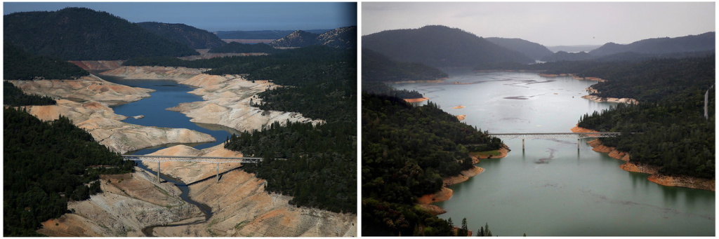 The Enterprise Bridge in Oroville, during severe drought in 2014 (left) and this April, during the week that the majority of the state's drought emergency is due to be lifted.
