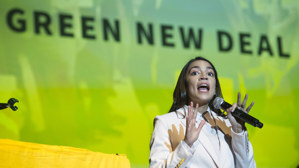 Rep. Alexandria Ocasio-Cortez speaks about the Green New Deal in Washington, D.C., on May 13. She has shined a spotlight on a once-obscure brand of economics known as