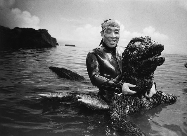 Above, Haruo Nakajima taking a break during the filming of