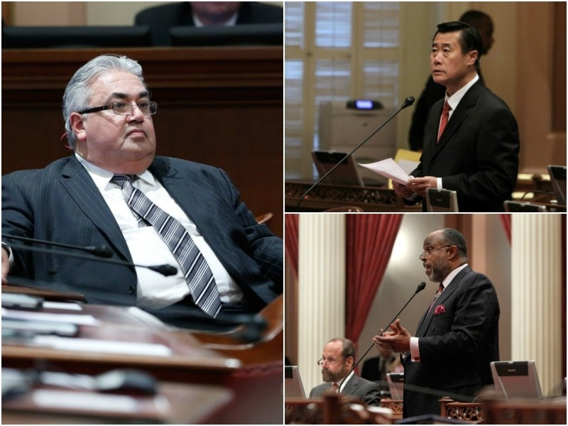 Former California state senators Ron Calderon, Leland Yee and Rod Wright.